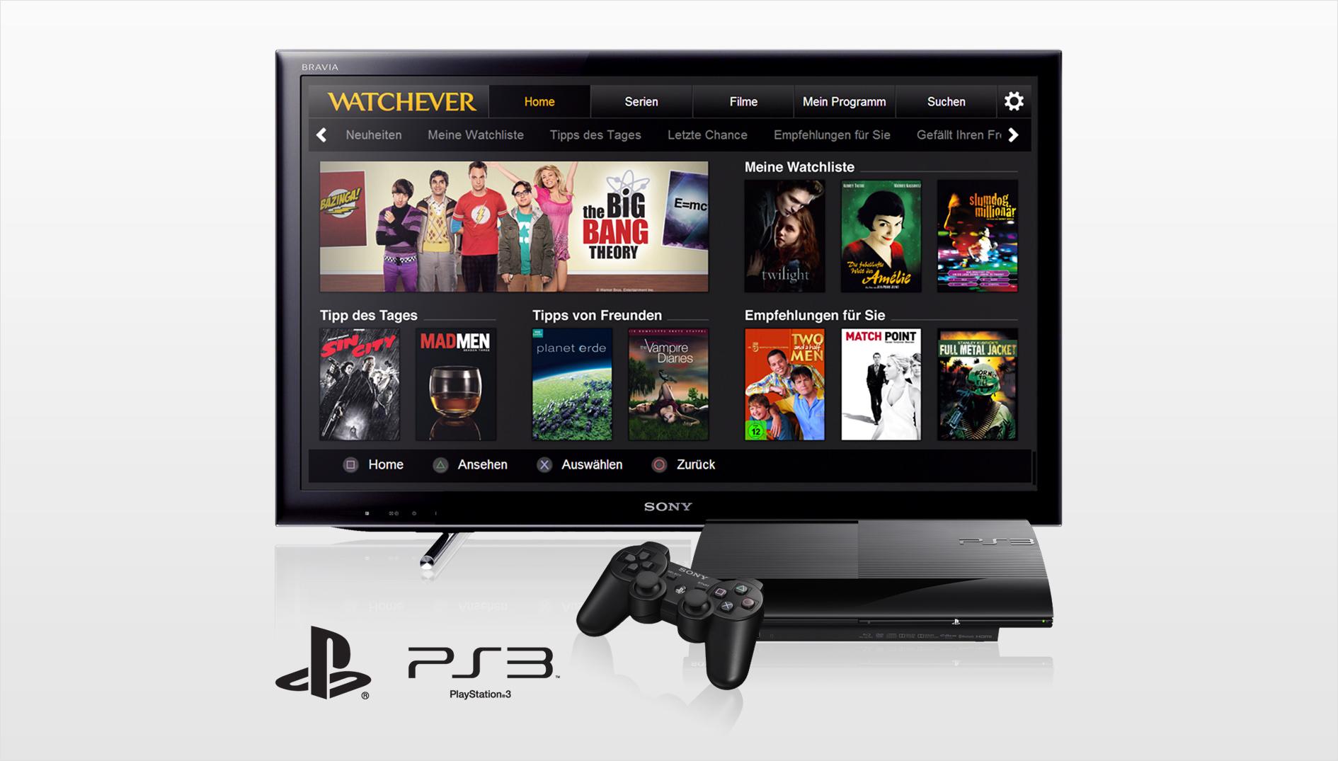 Watchever ab sofort auf PlayStation 3 verfügbar